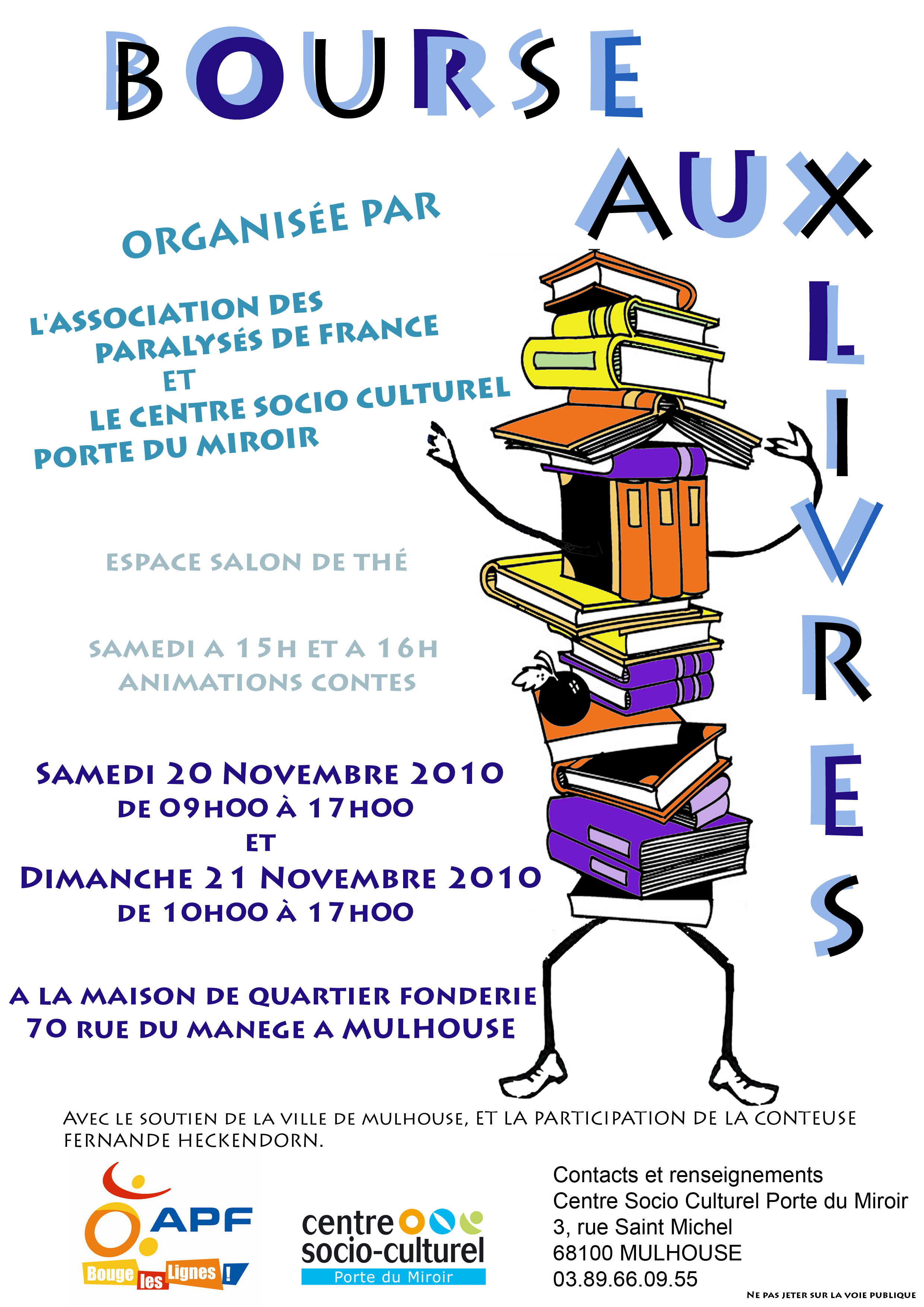 Bourse aux livres d l gation apf du haut rhin - Centre socio culturel porte du miroir ...